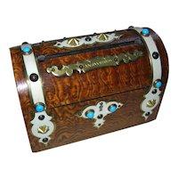 """Stunning Antique English Burl Ash """"Answered"""" and """"Unanswered"""" Stationery Box"""