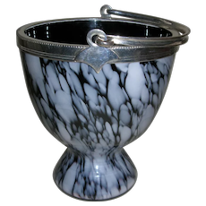Antique Hand Blown Glass Ice Bucket - Silver Plated Mount and Handle