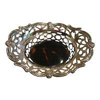 Pretty English  Sterling Silver  Tortoise Shell Basket # 2