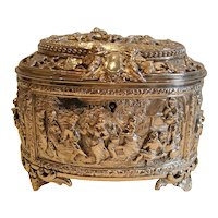 Fabulous Victorian English Electrotype Jewelry Box c.1860