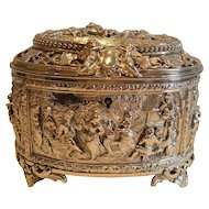 Fabulous Victorian English Electrotype Jewelry Box c.1860