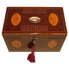 George III English Inlaid Mahogany Tea Caddy c.1820