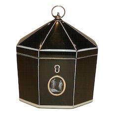 Rare & Magnificent Tented Horn Tea Caddy c.1800 - Cameo