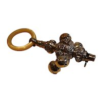 Antique English Sterling Silver Baby's Rattle & Whistle by George Unite