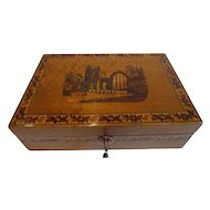 Antique Burr Holly & Tunbridge Ware Table Box - Muckross Abbey, Killarney