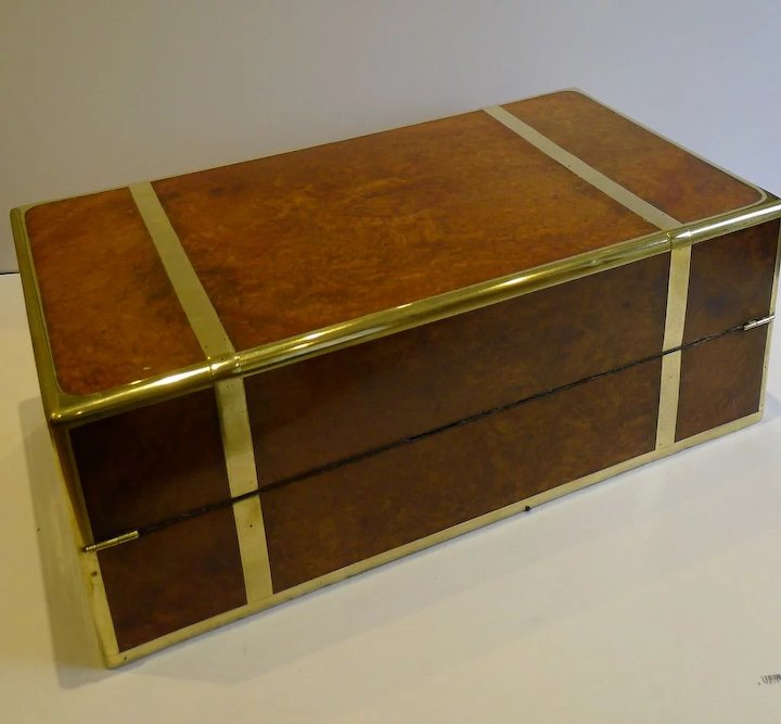 Rare Grand Anglo Indian Brass Bound Campaign Writing Slope Lap Desk In Amboyna Secret