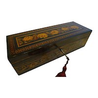 Handsome Antique English Coromandel and Tunbridge Ware Glove Box c.1850