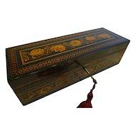 Handsome Antique English Coromandel and Tunbridge Ware Glove Box c.1850