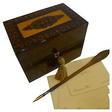English William IV Stickware Tunbridge & Rosewood Stationery Box c.1835