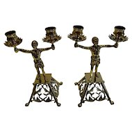 Pair Antique English Brass Blackamoor Candlesticks c.1872