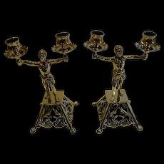 Pair Antique English Brass Blackamoor Candlesticks c.1872