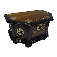 Antique Anglo-Portuguese Brass Mounted Teak & Macassar Ebony Chest c.1850