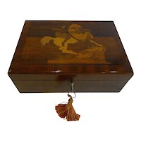 Unusual Antique English Inlaid Table / Desk Box - American Indian & Lion c.1880