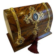 Museum Quality Burr Walnut Stationery Box, Fine Engraved Gilded Mounts With Pietra Dura