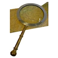 Rare Antique English Mammoth Map or Library Magnifying Glass c.1900/1910