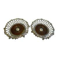 Finest Antique English Elkington Silver Plate Wine Coasters (Pair) - 1854