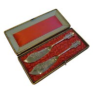 Stunning Pair Silver Plated Butter Knives by ALBERT J. BEARDSHAW & CO. c.1880