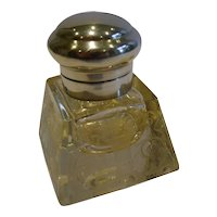 Antique English Engraved Crystal & Sterling Silver Inkwell - 1912