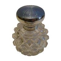 Antique English Cut Crystal, Sterling Silver & Guilloche Enamel Perfume Bottle