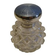 Antique English Cut Crystal, Sterling Silver & Guilloche Enamel Perfume Bottle