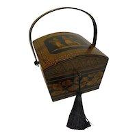 Wonderful Antique English Penwork Sewing Box / Basket c.1820