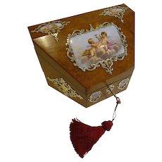 Magical Antique English Burr Walnut & Hand-Painted Porcelain Stationery Box c.1850