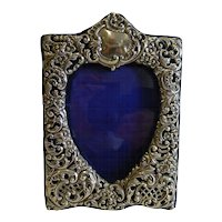 Stunning Antique English Sterling Silver Heart Photograph Frame