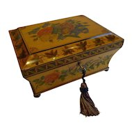 Rare Antique English Painted Sycamore Jewelry Box - Hand Painted Flowers, c.1815