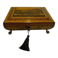Fine Quality English Regency Penwork Jewelry Box c.1820
