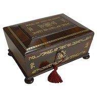 Antique English Cut Brass Inlaid Rosewood Jewelry / Desk Box c.1820