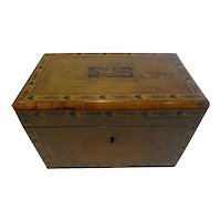 Antique English Burl Walnut and Tunbridge Inlaid Tea Caddy c.1860