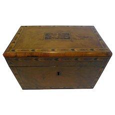 Antique English Burl Walnut and Tunbridge Inlaid Tea Caddy c.1860
