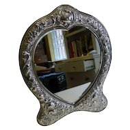 Fabulous Large Antique English Sterling Silver Mirror - 1903