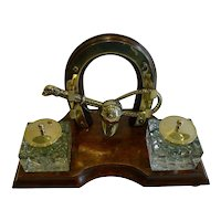 Antique English Equestrian / Hunting Desk Set / Inkwell c.1890