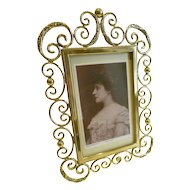 Elegant Antique English Brass Photograph Frame c.1880