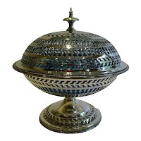 Antique English Silver Pierced Silver Plate Covered Dish With Original Blue Glass Liner c.1880