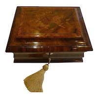 Wonderful Antique English Regency Walnut & Tulipwood Tea Caddy - Floral Inlay