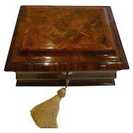 Wonderful Antique English Regency Walnut & Tulipwood Tea Caddy - Floral Inlay