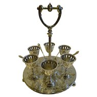 Antique English Silver Plated Egg Cruet For Six c.1890