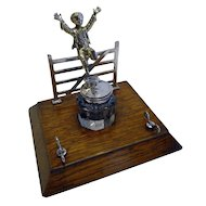 Charming Antique English Figural Inkwell / Inkstand c.1890 - Child Over Gate