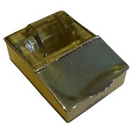 Rare Sterling Silver & Glass Combination Postage Stamp Box & Moistener by Deakin & Francis