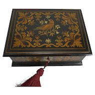 Rare Antique French Ebony and Intricately Inlaid Box - Dove c.1860