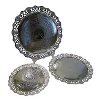 Fabulous Set Three Graduated Silver Plated Salvers / Trays c.1860