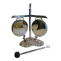 Rare Antique Silver Plated English Novelty Table Gong - 1888
