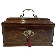 Antique English Inlaid Mahogany Tea Caddy c.1790