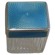 Pretty Small Sterling Silver and Guilloche Enamel Lidded Box