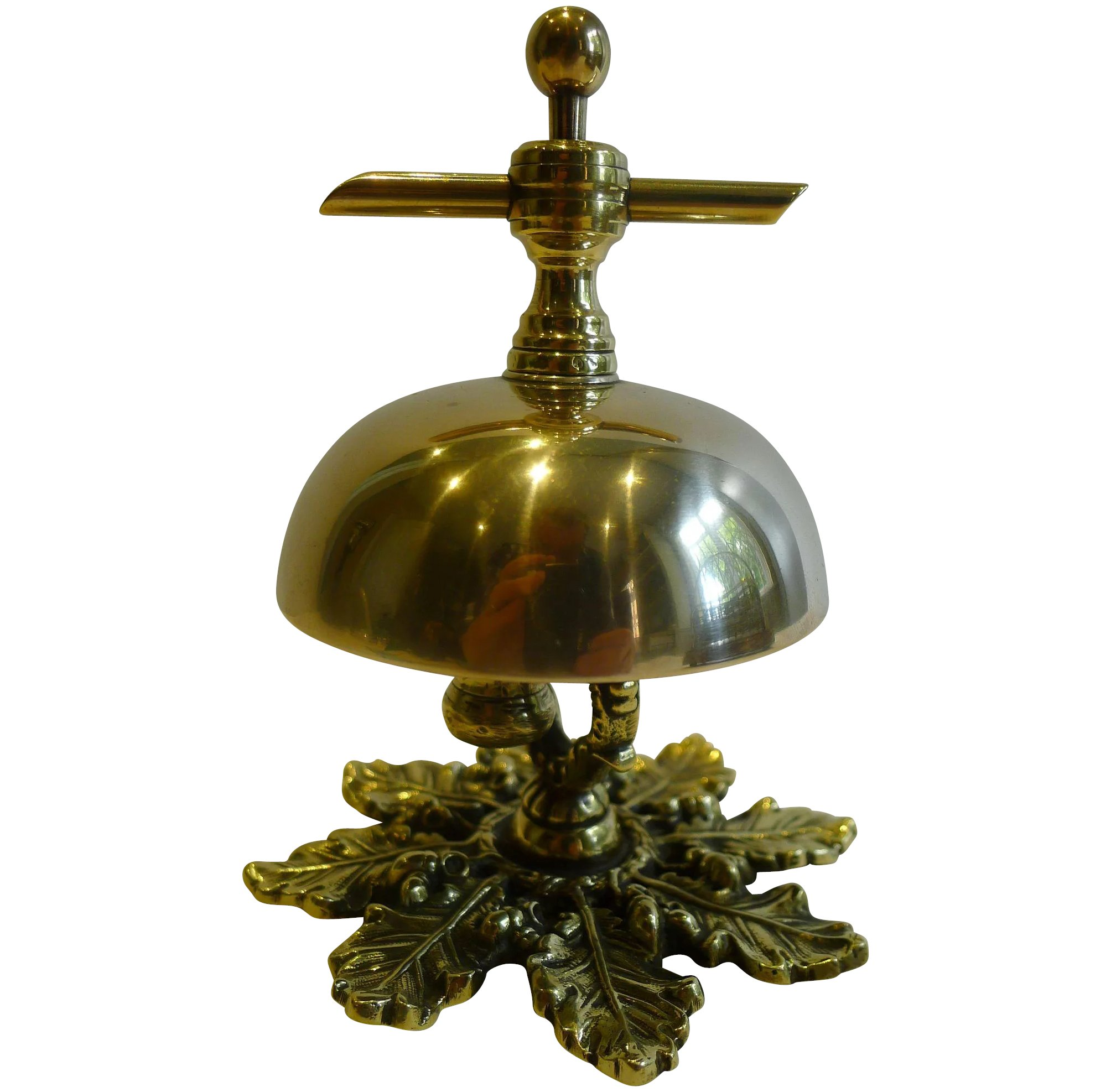 Antique English Brass Counter Desk Bell C 1880 To Expand