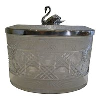 Antique English Cut Crystal and Silver Plated Biscuit Box c.1890
