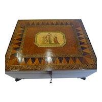 Large, Rare & Grand English Regency Penwork Jewelry Box c.1820