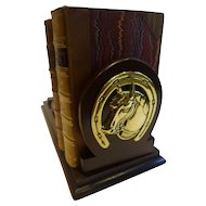 Antique English Mahogany and Brass Bookslide / Bookends - Horses
